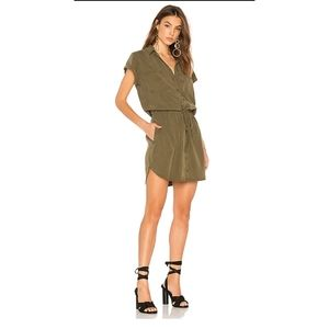 Paige Mila Shirt Dress in Olive Green Medium